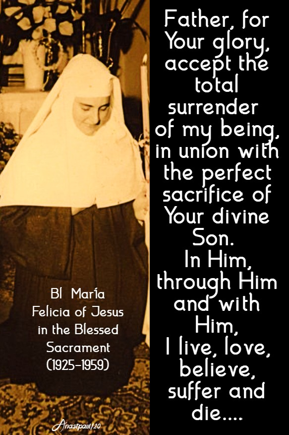 Father for your glory - bl maria of jesus in the bl sac - 28 april 2020