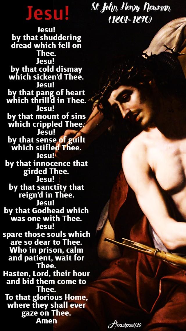 jesu the angel of the agony st john henry newman good friday 10 april 2020
