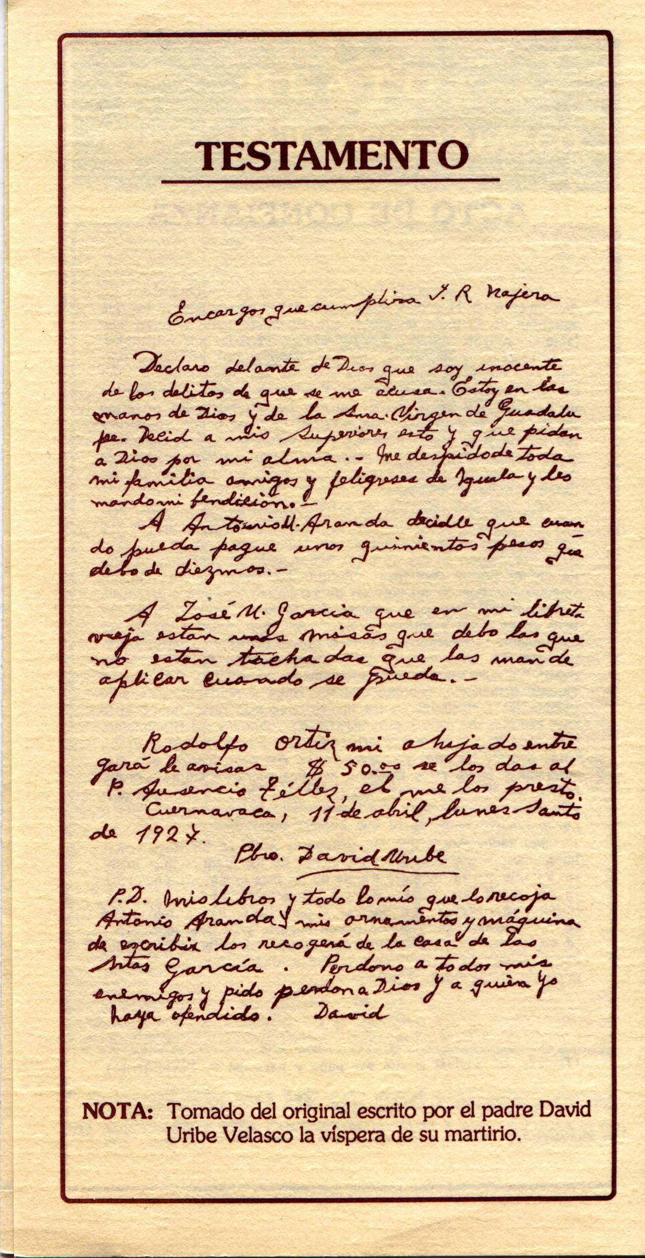 last will and testament of st david uribe