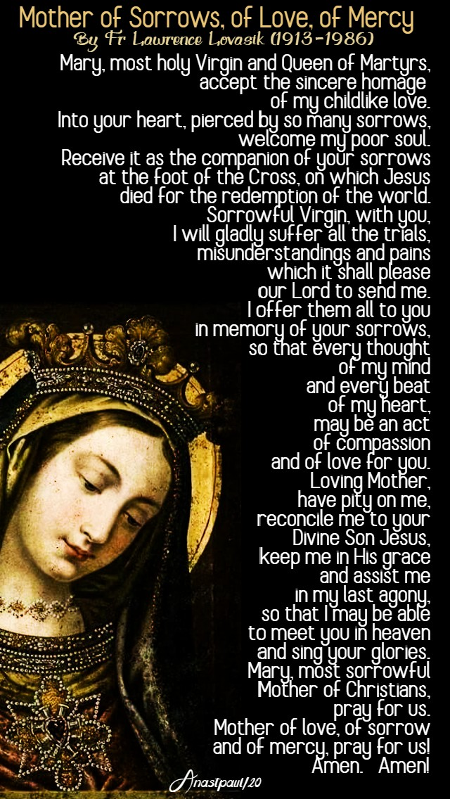 mother of sorrows of love of mercy fr lovasik-4 april 2020