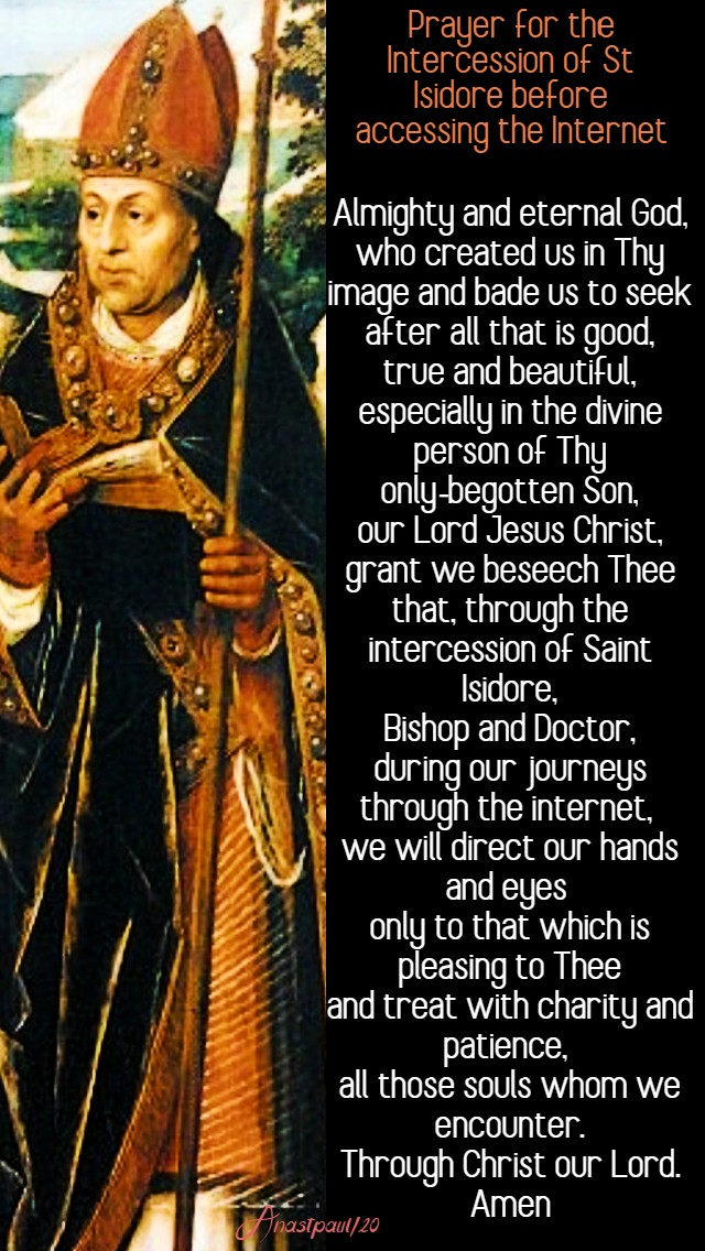 prayer for the intercession of st isidore before internet - 4 april 2020