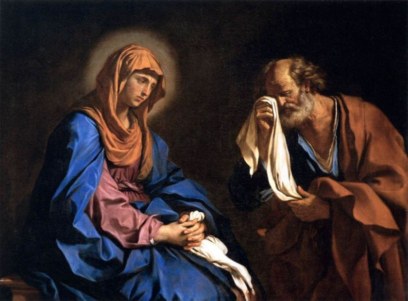 sorrowful mother with apostle peter maybe