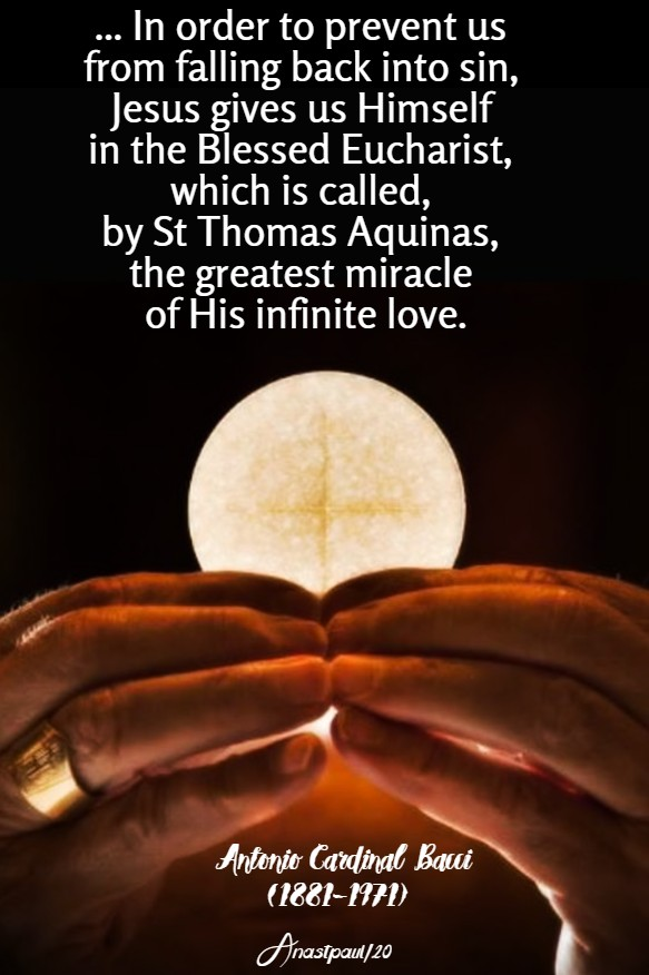 the greatest miracle of his ifinite love - eucharist - bacci 29 april 2020