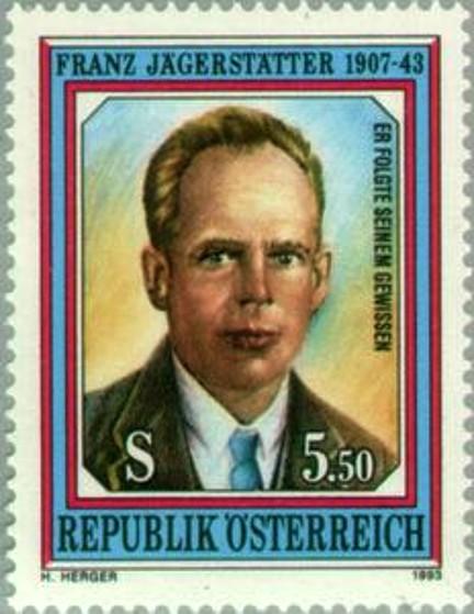 50th-Memorial-Anniversary-of-bl Franz-Jägerstätter-1907-43 stamp