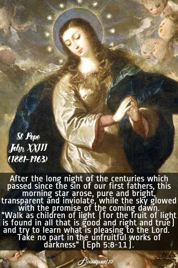 after the long night - imm conception - st john XXIII 5 may 2020