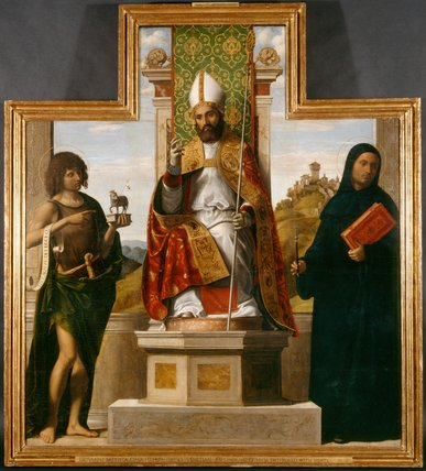 bl Lanfranc enthroned between St John the Baptist and St Liberius