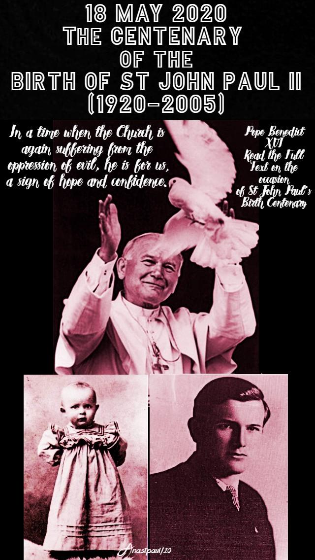 centenary of the birth of st john paul II 18 may 2020 no 2