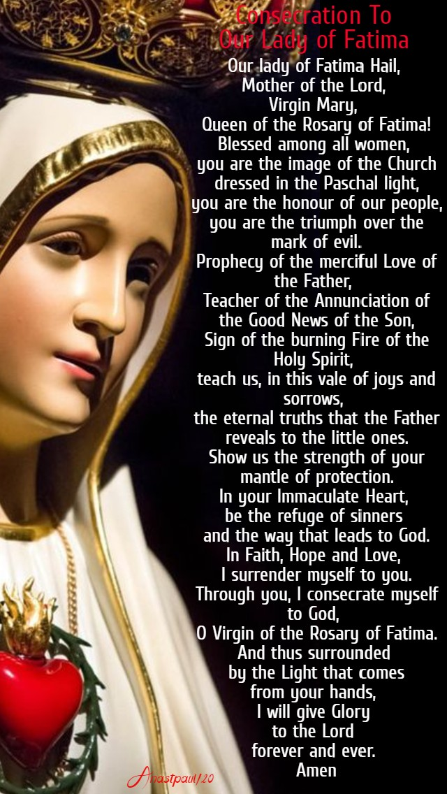 consecration to our lady of fatima 13 may 2020