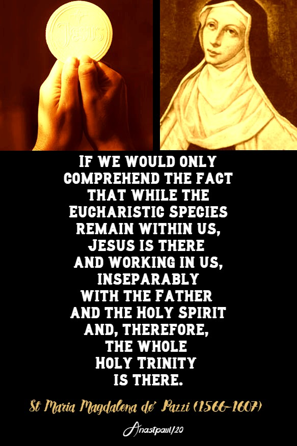 if we would only comprehend the fact that while the eucharistic species - st maria magdalena de pazzi 25 may 2020