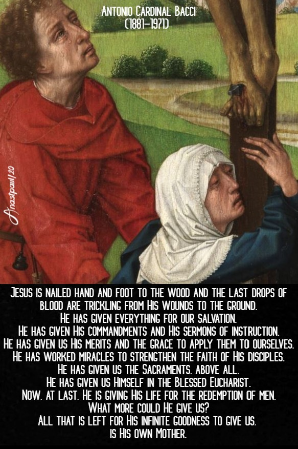 jesus give us his mother - foot of the cross - bacci 5 may 2020
