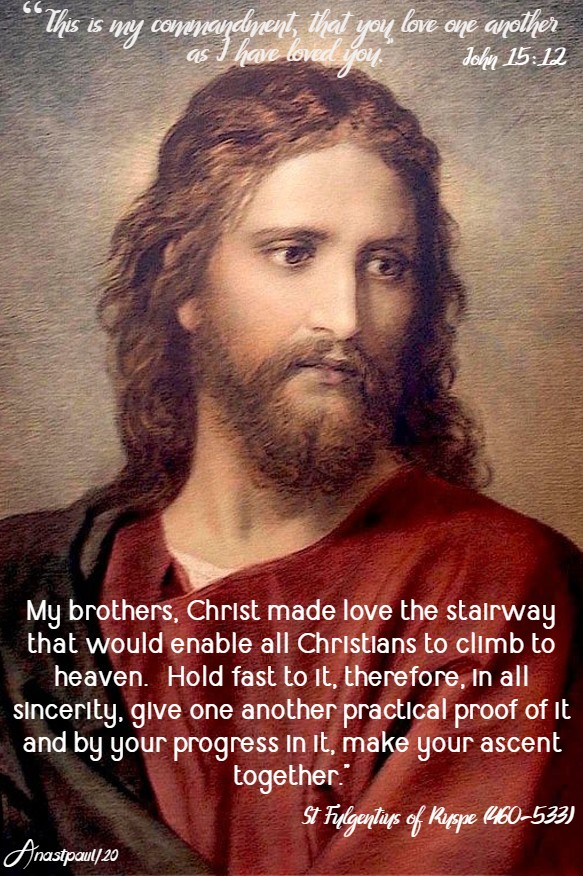 john 15 12 love one another - my brothers christ made love the stairway - st fulgentius of ruspe 15 may 2020