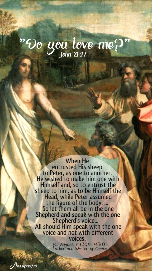john 21 17 do you love me - when he entrusted his sheep to peter - st augustine 29 may 2020