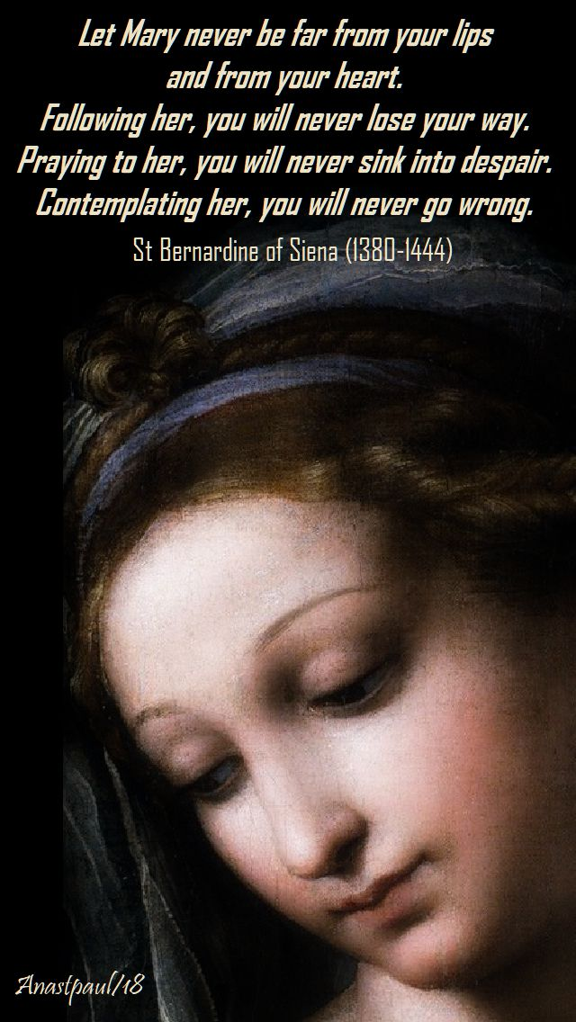 let mary never be far from our lips - st bernardine - 26 aug 2018