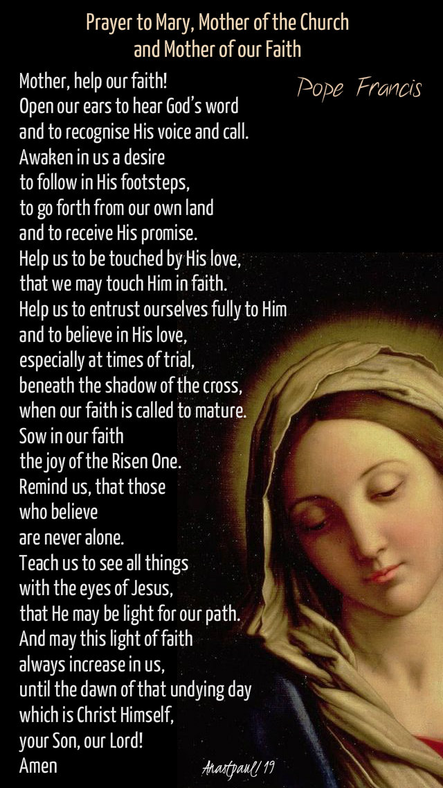 prayer to mary mother of the chuch and of our faith - pope francis - 12 may 2019