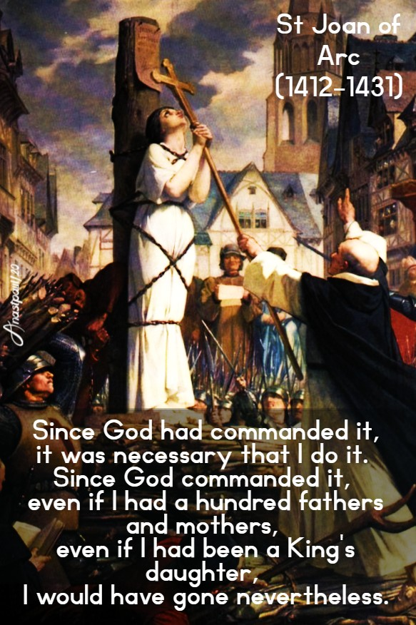 since god has commanded it - st joan of arc 30 may 2020
