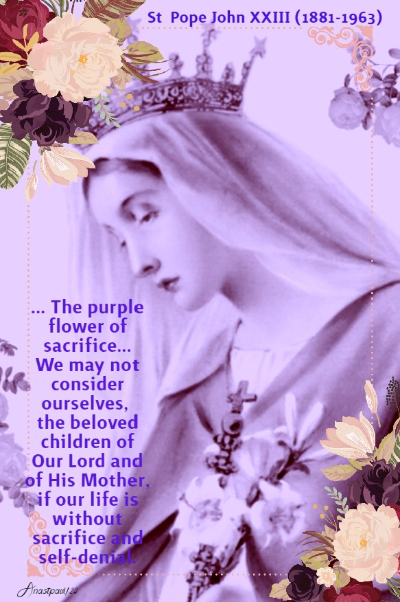 the purple flower of sacrifice - st john XXIII 6 may 2020