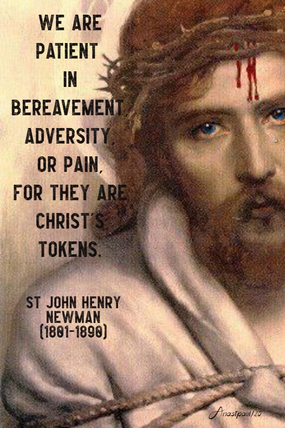 we are patient in bereavement, adversity or pain - st john henry newman 16 may 2020
