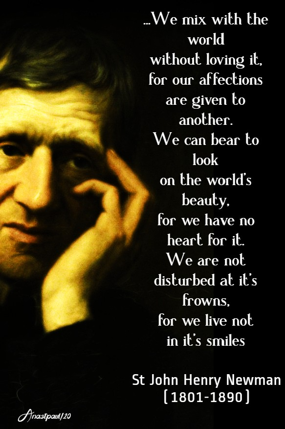 we mix with the world without loving it - st john henry newman 16 may 2020 we are not disturbed at it's frowns