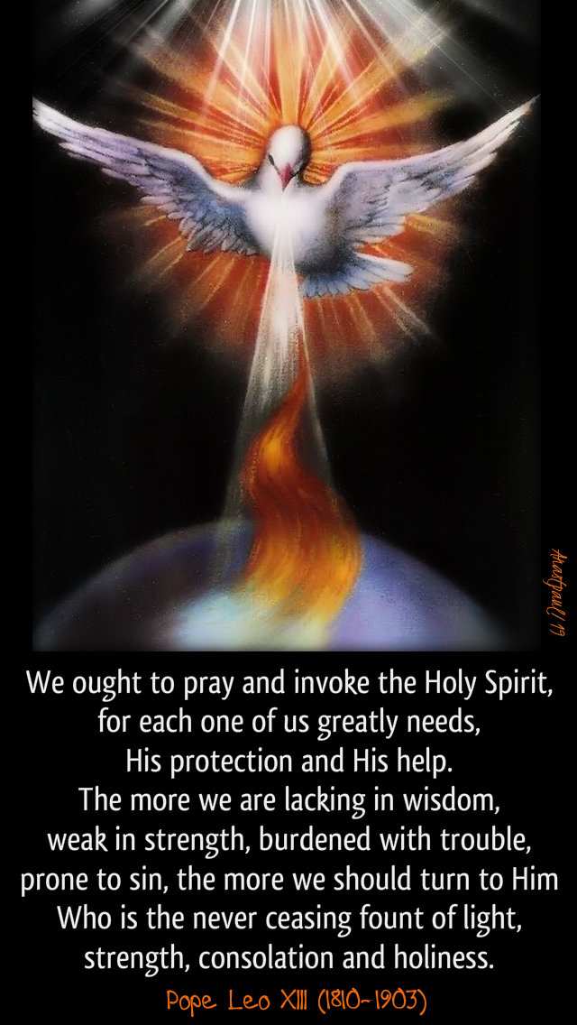 we-ought-to-pray-and-invoke-the-holy-spirit-pope-leo-xiii-31-may-2019 and 2020 pentecost