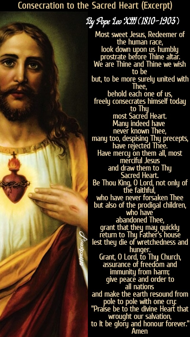 consecration to the sacred heart by pope leo XIII 30 June 2020