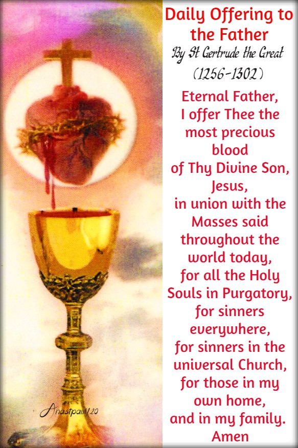 daily offering to the father -precious blood - st gertrude 1 july 2020