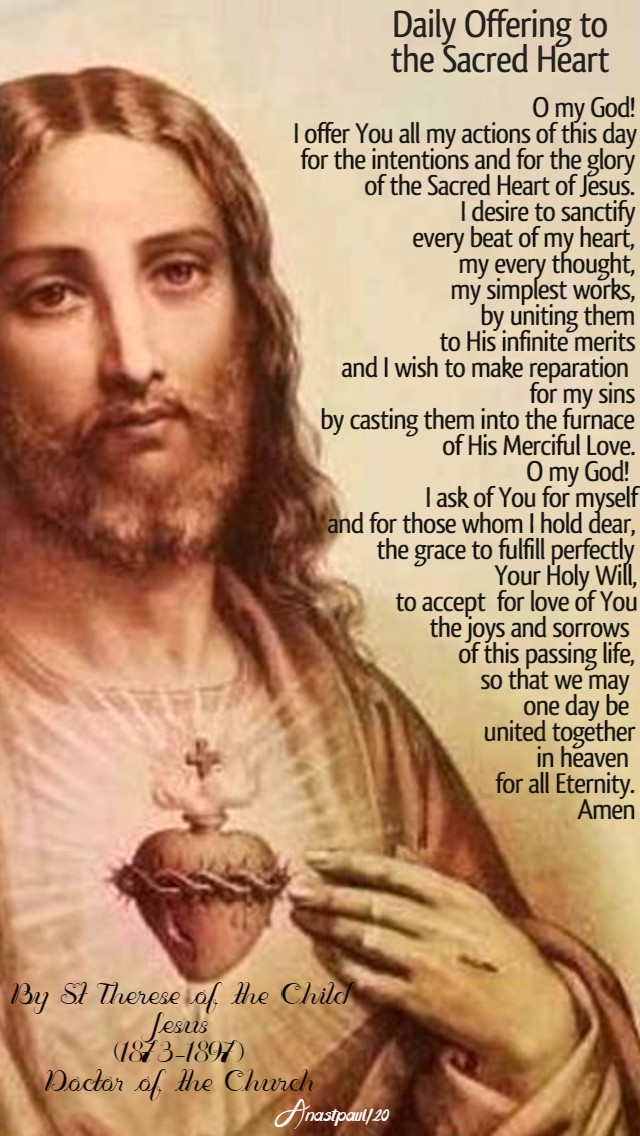 daily offering to the sacred heart by st therese of the child jesus 16 june 2020