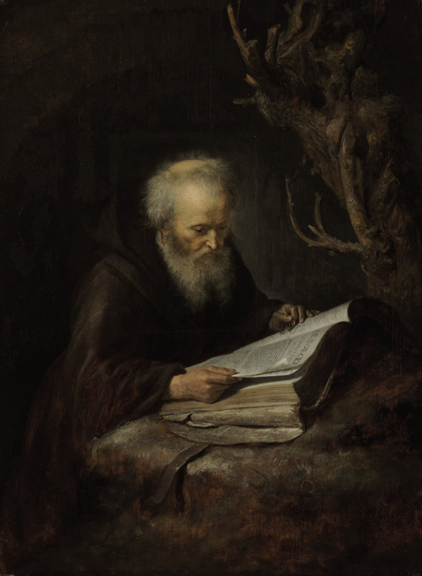 (gerrit_dou_a_hermit_saint_reading_in_a_cave)