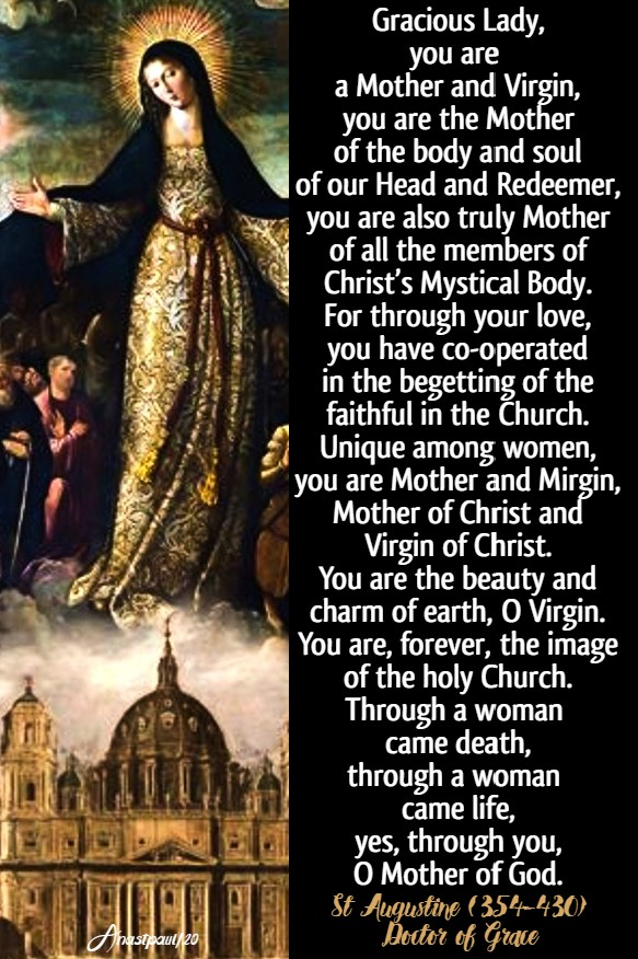 gracious lady you are a mother and virgin - mater ecclesiae 1 june 2020 st augustine