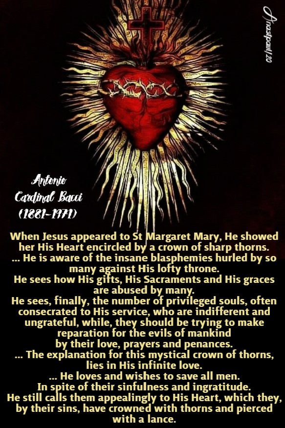 he showed his heart encircled by a crown of thorns - bacci 9 june 2020