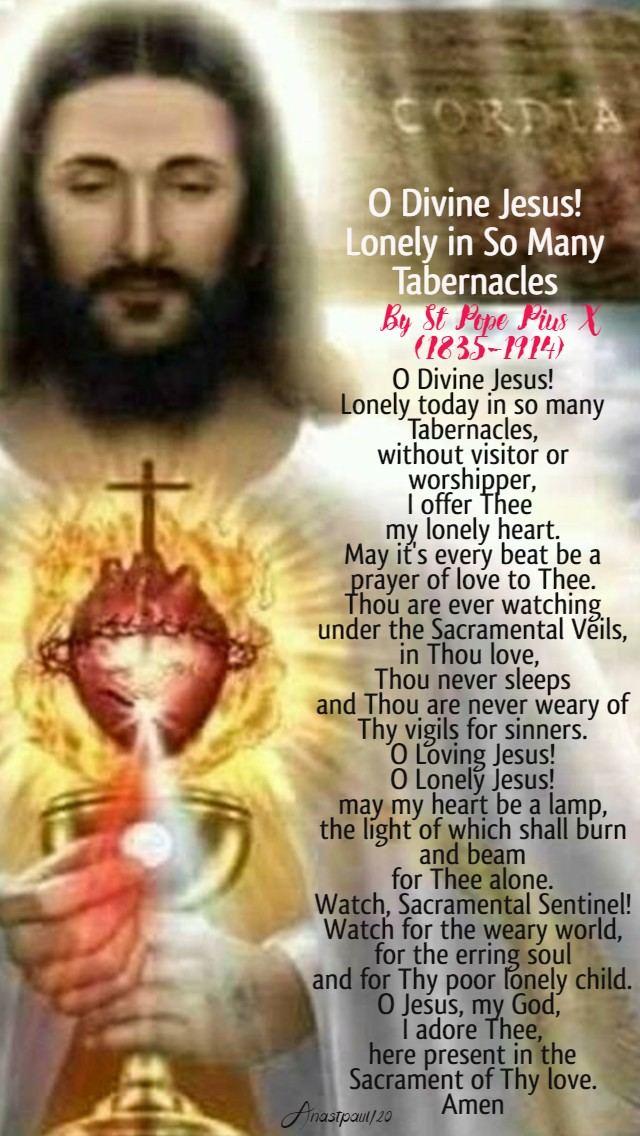o divine jesus lonely in so many tabernacles - st pope pius X 8 june 2020
