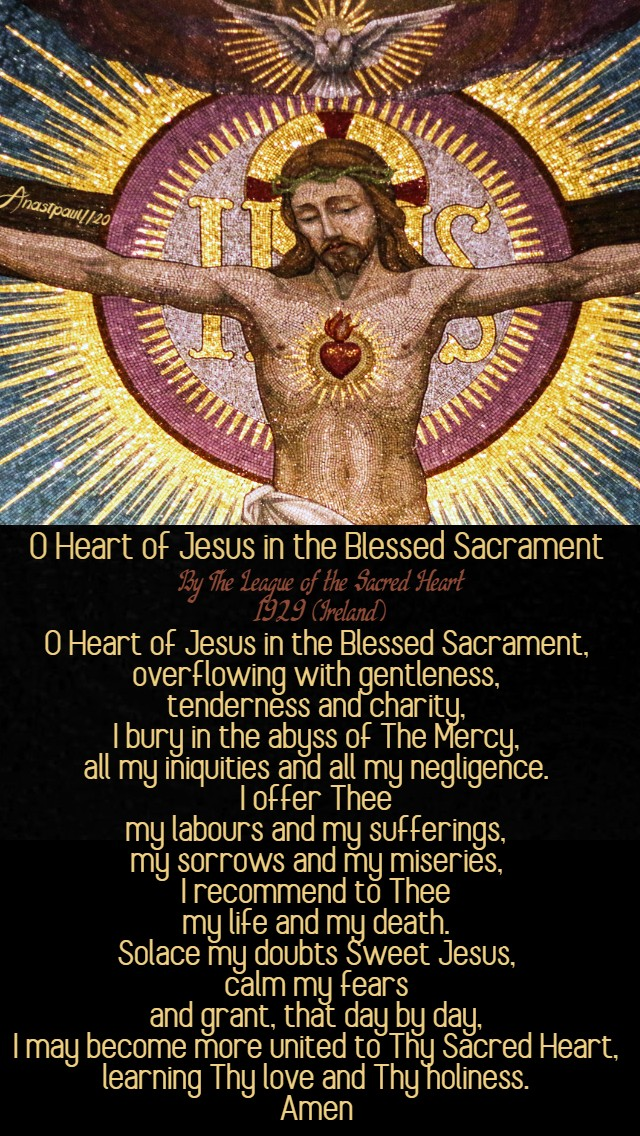 o heart of jesus in the blessed sacrament - by the league of the Sacred Heart Ireland 1929 - 28 june 2020