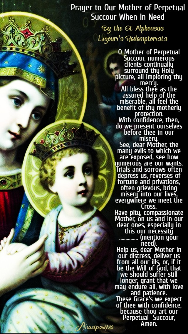 prayer to our mother of perpetual succour when in need 1 april 2020