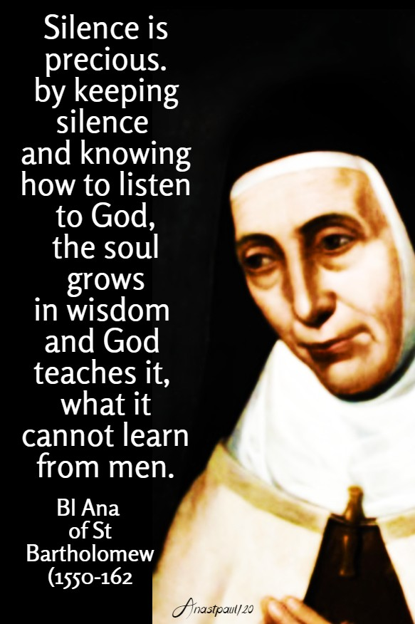 silence is precious - bl ana of st bartholomew 7 june 2020