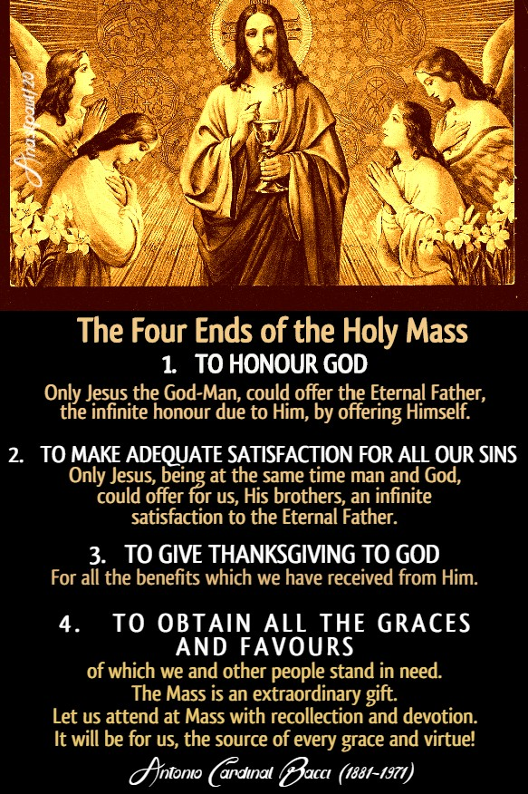 THE FOUR ENDS OF THE HOLY MASS - BACCI 26 JUNE 2020