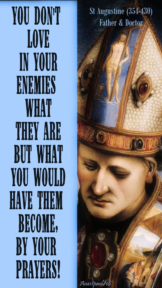you don't love in your enemies what they are but what you would have them become by your prayers - st augustine - 18 june 2018