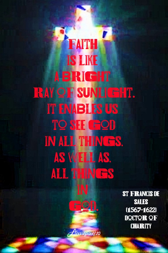 faith is like a bright ray of sunlight - st francis de sales 6 july 2020
