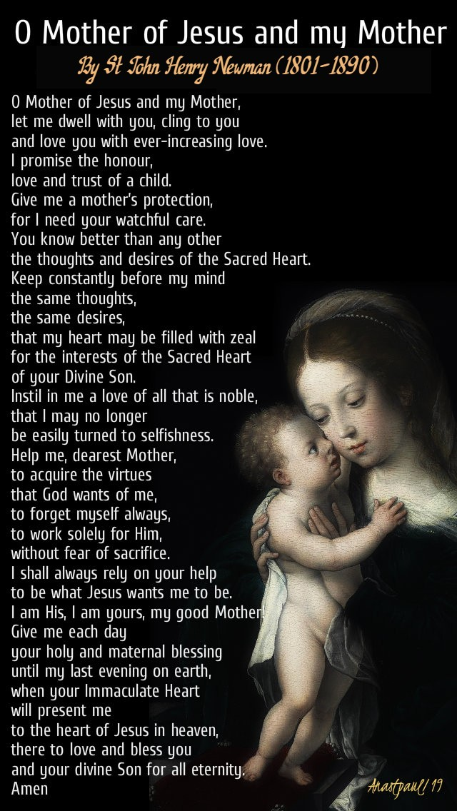 o mother of jesus and my mother - 12 oct 2019 john henry newman