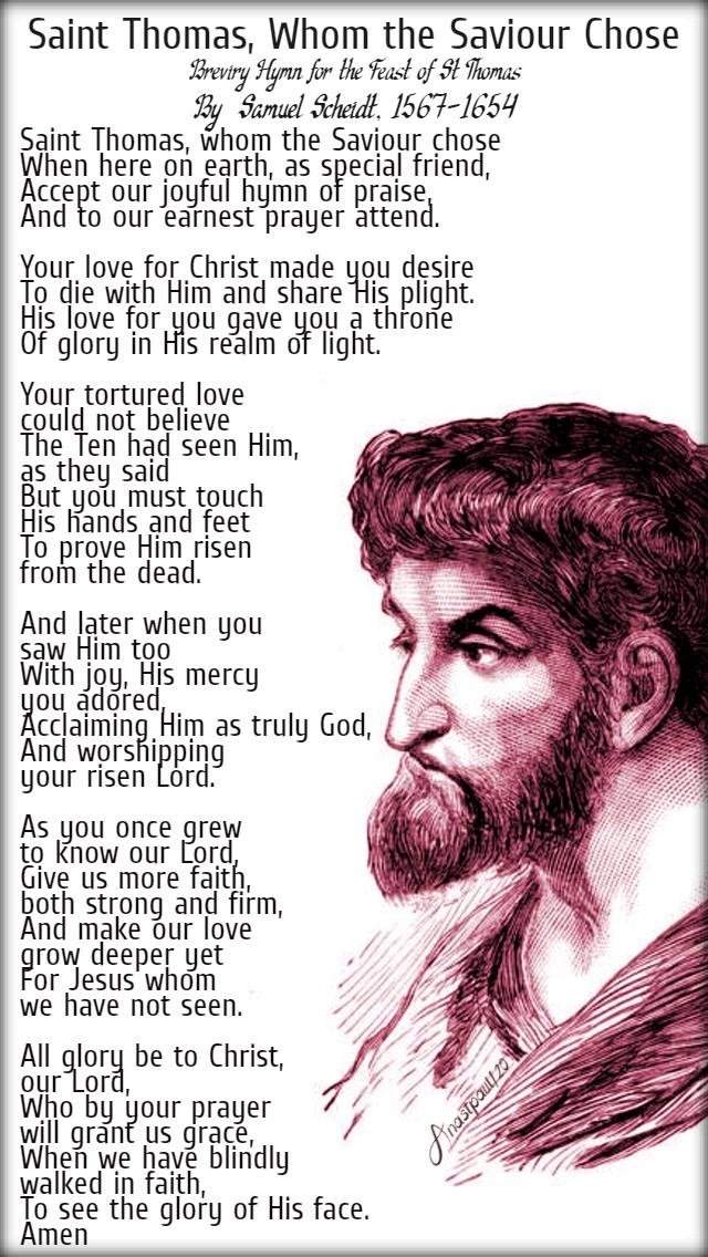 st thomas whom the saviour chose - breviary hymn - 3 july 2020