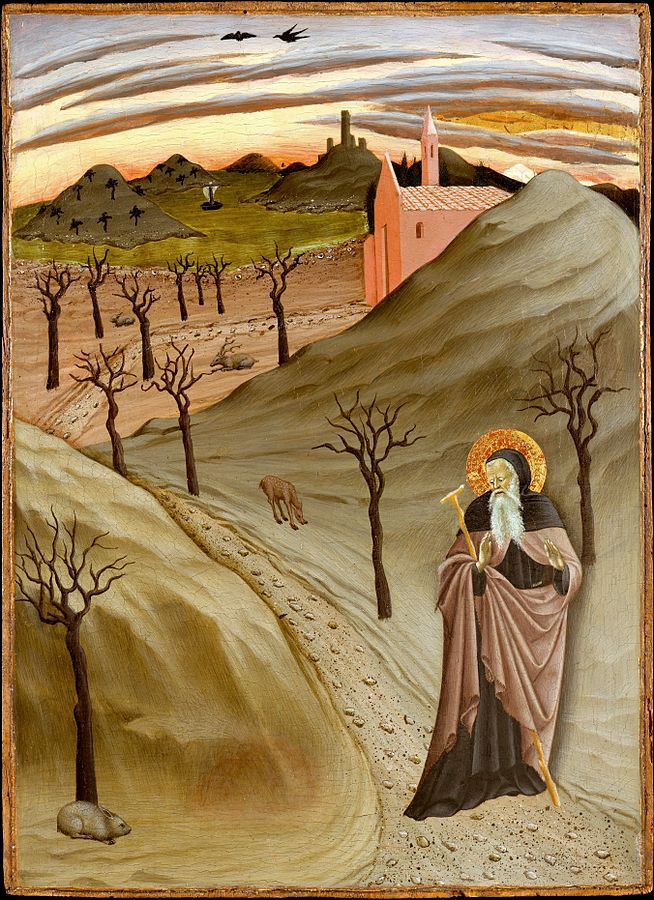 654px-'Saint_Anthony_Abbot_Tempted_by_a_Heap_of_Gold,_,Tempera_on_panel_painting_by_the_Master_of_the_Osservanza_Triptych,_ca._1435,_Metropolitan_Museum_of_Art