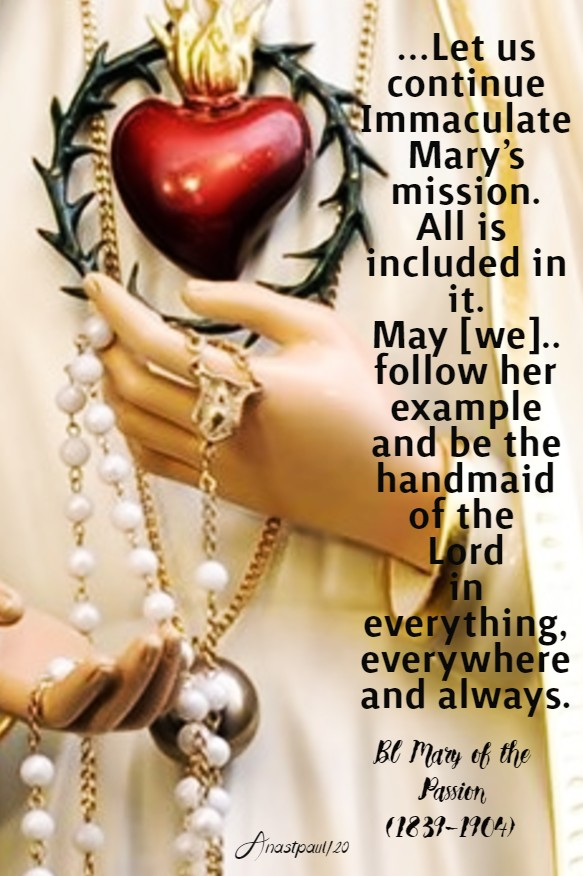 let us continue immaculate mary's mission - bl mary of the passion - 20 june 2020 imm heart