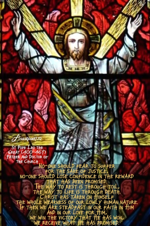 no-one should fer to suffer - st pope leo - transfiguration 6 aug 2020
