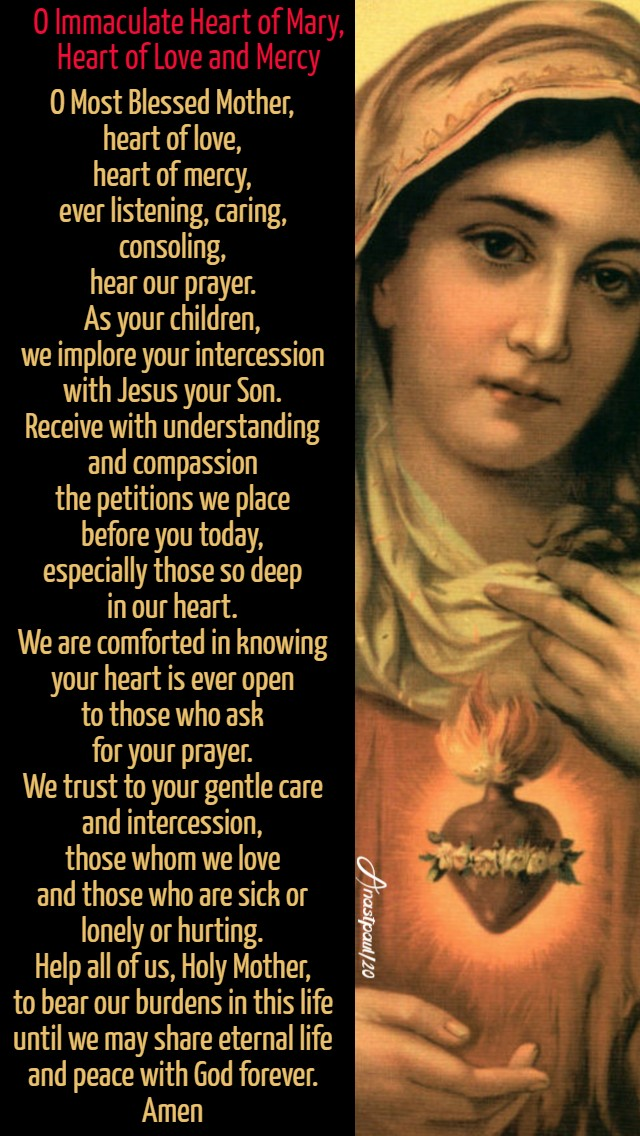 o immaculate heart of mary, heart of lkove and mercy 7 aug 2020