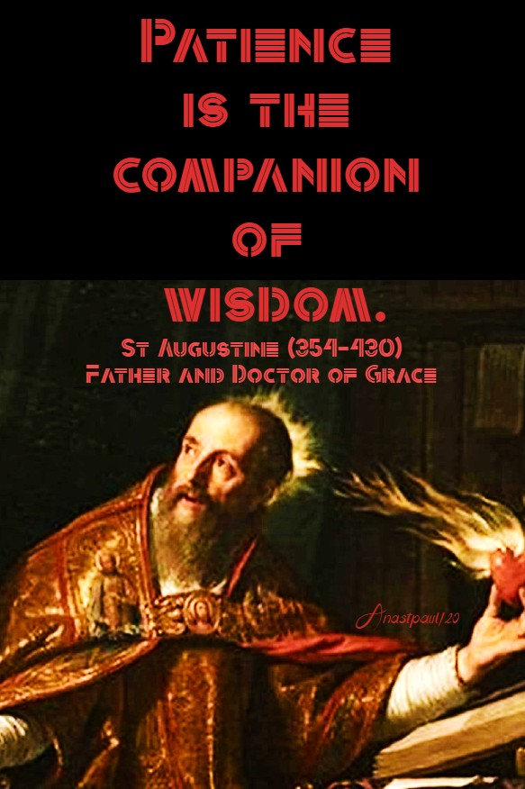 patience is the ciompanion of wisdom - st augustine 16 aug 2020